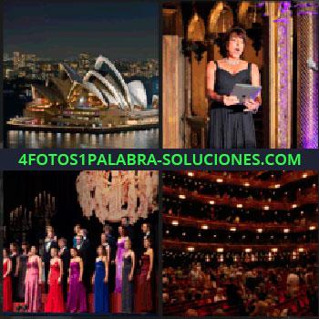 4 Fotos 1 Palabra - Mujer cantando con un iPad, mujeres y hombres en un escenario con vestidos de gala, teatro, Sidney