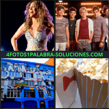 4 Fotos 1 Palabra - Mariah Carey, palomitas de maíz, fachada de edificio con graffiti, One Direction