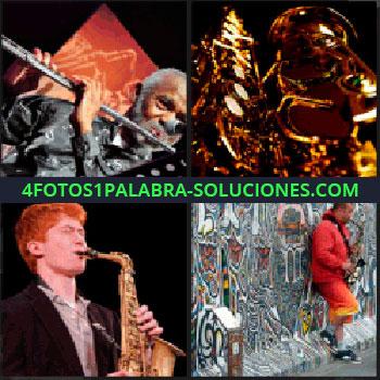 4 Fotos 1 Palabra - Flauta travesera, saxofón, hombre apoyado en la pared tocando un saxofón, saxofonista pelirrojo