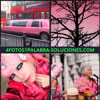 4 Fotos 1 Palabra - Chica con pelo rosa, silueta de árbol sin hojas con fondo de cielo rosado, mujeres cantando, limusina rosa