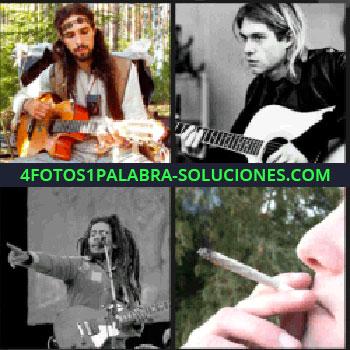 4 Fotos 1 Palabra - Kurt Cobain, Nirvana, músico hippie con guitarra y pelo largo, fumando, Bob Marley cigarro