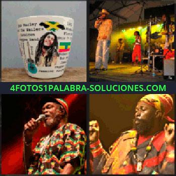 4 Fotos 1 Palabra - Cantante con pañuelo en la cabeza, grupo de música, ropa de colores, Bob Marley, taza de Jamaica