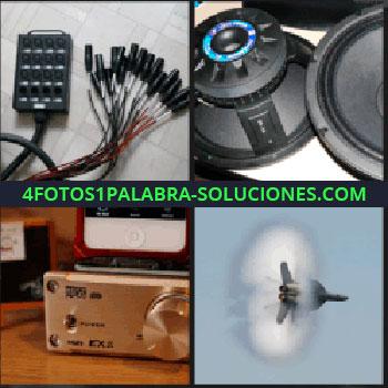 4 Fotos 1 Palabra - Cables negros y rojos, amplificador de música, reproductor de música, avión altavoces