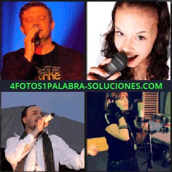 4 Fotos 1 Palabra - Chica con micrófono, hombre cantando, mujer grabando una canción, estudio de grabación, cantante fondo azul
