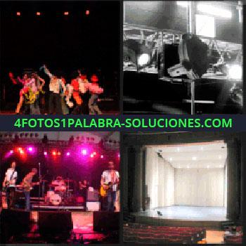 4 Fotos 1 Palabra - focos de iluminación, grupo de baile, concierto de música, teatro vacío, telón blanco, escenario iluminado