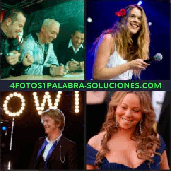 4 Fotos 1 Palabra - Mujer con flor roja en el pueblo, cantante, tres hombres sentados en una mesa escribiendo, Mariah Carey