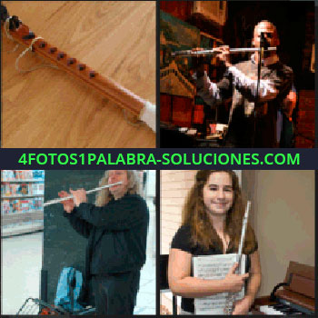 4 Fotos 1 Palabra - Flautista, hombre de negro tocando una flauta, chica con partituras en la mano, flauta de madera
