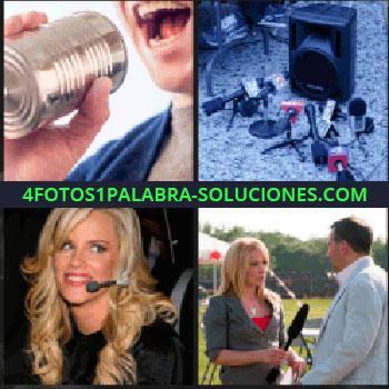 4 Fotos 1 Palabra - Micrófonos en el suelo, mujer rubia con diadema de micro, mujer entrevistando a un hombre en el campo, entrevista bote...