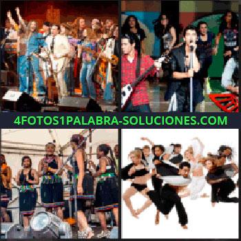 4 Fotos 1 Palabra - Mucha gente cantando y bailando en un escenario, grupo musical, chicas tocando música, bailarines