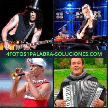 4 Fotos 1 Palabra - Guitarrista con sombrero de copa, mujer tocando la guitarra, hombre con turbante blanco tocando la flauta, acordeón