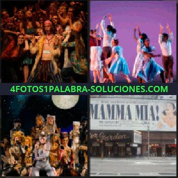 4 Fotos 1 Palabra - Mamma Mia, gente bailando en un escenario, bailarines disfrazados, actores de teatro con el público, Mamma Mia
