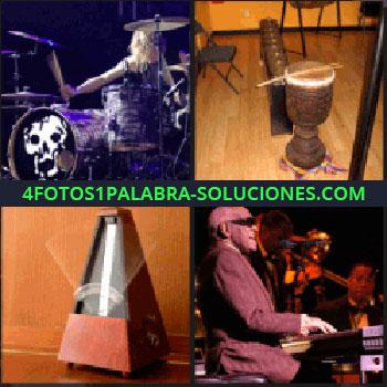 4 Fotos 1 Palabra - Ciego tocando el piano, instrumentos musicales, metrónomo, batería con calavera -