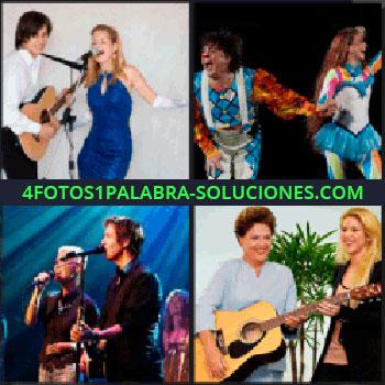 4 Fotos 1 Palabra - Hombre con guitarra y mujer con vestido azul cantando, pareja de payasos, hombre y mujer cantando, pareja cantando