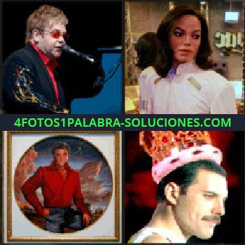 4 Fotos 1 Palabra - Elton John, Freddy Mercury, Elvis Presley, cantante, Michael Jackson