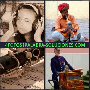 4 Fotos 1 Palabra - Mujer escuchando música con auriculares, instrumento musical sobre partitura, militar, encantador de serpientes