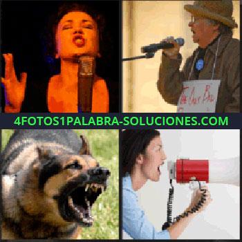 4 Fotos 1 Palabra - Mujer cantando, hombre con micrófono y cartel colgado al cuello, pastor alemán, perro megafono