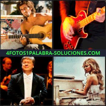 4 Fotos 1 Palabra - Director de orquesta, hombre sin camisa tocando la guitarra, guitarra rojo, mujer tocando piano, piano blanco