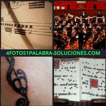 4 Fotos 1 Palabra - Banda de música, orquesta, notas musicales, tatuaje partituras