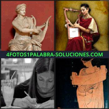 4 Fotos 1 Palabra - Estatua, mujer escribiendo junto a copa de batido, dibujo antiguo de mujer con pergamino, mujer con arpa