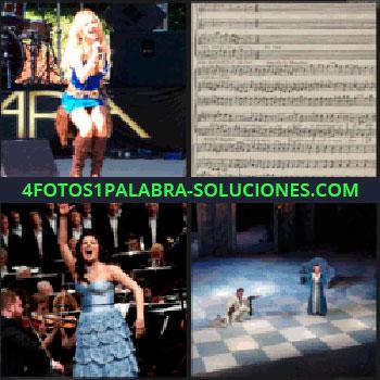 4 Fotos 1 Palabra - Notas musicales, obra de teatro, cantante de orquesta, cantante vestido azul