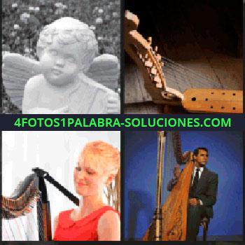 4 Fotos 1 Palabra - Mujer de rojo tocando el arpa, hombre con arpa, instrumento musical de cuerdas, ángel blanco ...