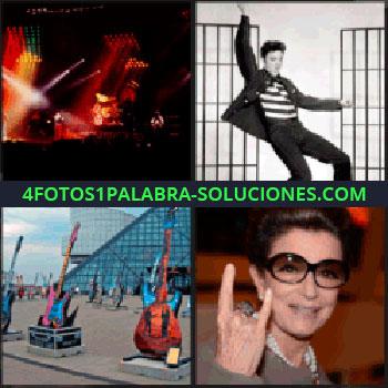 4 Fotos 1 Palabra - Escenario con luces de colores, mujer levantando dos dedos, pirámide de cristal, exposición de guitarras, Elvis Presley