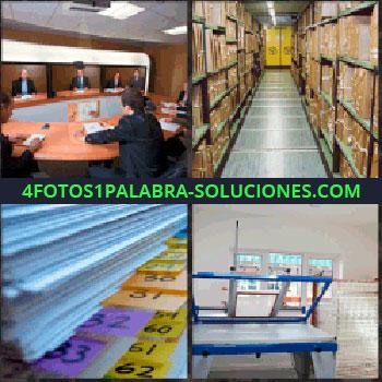 4 Fotos 1 Palabra - Sala y mesa de reuniones. almacén o bodega. Papeles. Aparato o maquina