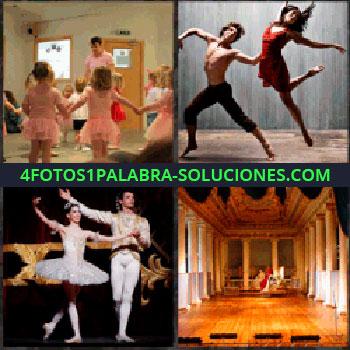 4 Fotos 1 Palabra - Niñas vestidas de rosa. bailando. Bailarín y bailarina. Espacio diáfano