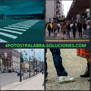 4 Fotos 1 Palabra - paso de peatones. Gente cruzando paso de cebra. Calle de una ciudad. Zapatilla blanca y falda tableada