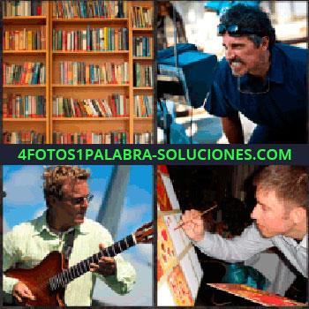 4 Fotos 1 Palabra - librería. Señor con dientes apretados y gafas de sol. Guitarrista. Pintor