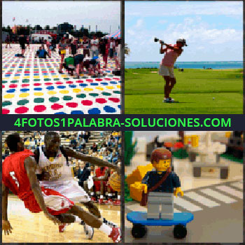 4 Fotos 1 Palabra - Juego twister gigante, hombre jugando al golf, muñeco Playmobil sobre patinete, jugadores de baloncesto en un partido, playmobil golf
