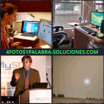 4 Fotos 1 Palabra - Mujer con computadoras. despacho oficina. Orador. Sala paredes blancas