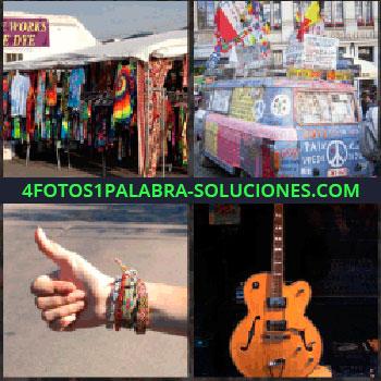 4 Fotos 1 Palabra - tianguis o mercado. Furgoneta o camioneta pintada. Pulgar arriba y autoestop. Guitarra eléctrica