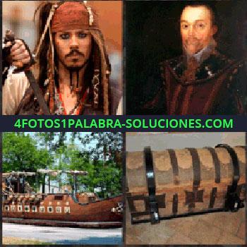 4 Fotos 1 Palabra - Jack Sparrow. Foto antigua capitán. Barco antiguo. cofre del tesoro