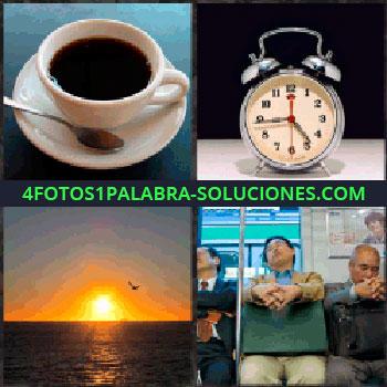 4 Fotos 1 Palabra - taza de cafe. Reloj despertador. Amanecer o atardecer. Señores en el metro