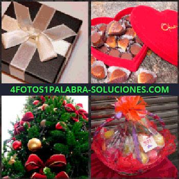 4 Fotos 1 Palabra - Caja con lazo. caja de bombones con forma de corazón. Arbol de navidad. Cesta adornada de regalo