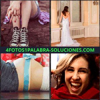 4 Fotos 1 Palabra - Piernas niña. vestido novia blanco. Mujer embarazada con cinta regalo en la barriga. Señorita sonriendo