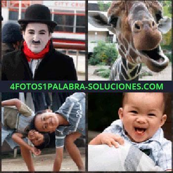 4 Fotos 1 Palabra - Charles Chaplin. Jirafa abriendo la boca. Niños jugando. Bebe riendo