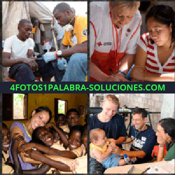 4 Fotos 1 Palabra - Médico en campo de refugiados. Cruz Roja. Señorita blanca con niños negros. Doctores ONG con bebe
