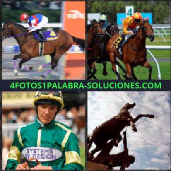 4 Fotos 1 Palabra - caballo de carreras. Carreras de caballos. Hipódromo. Jinete. Estatua de un caballo
