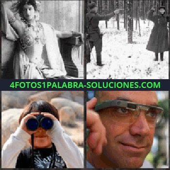 4 Fotos 1 Palabra - Foto antigua señora. Soldados en la nieve. Mirando por prismáticos. Señor con las gafas o lentes modernas. Google Glass