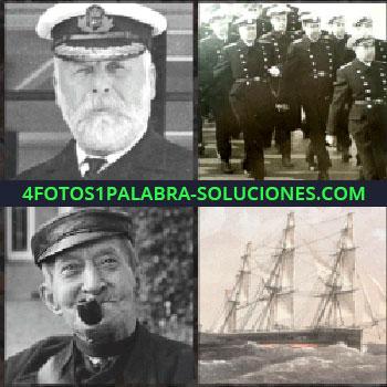 4 Fotos 1 Palabra - capitán de barco foto antigua. Militares marchando. Señor fumando en pipa. Barco velero antiguo