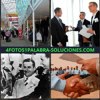 4 Fotos 1 Palabra - Centro comercial o pabellón feria. señores con trajes. Foto antigua señores con traje y corbata. Dándose la mano