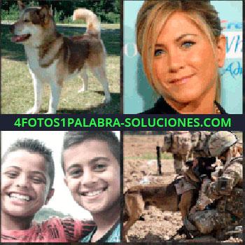 4 Fotos 1 Palabra - perro. Actriz Jennifer Aniston. Dos niños sonriendo. Militar con perro