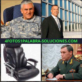 4 Fotos 1 Palabra - Militar sentado en sillón azul. Señor de traje y corbata. sillón o butaca. Teniente general militar