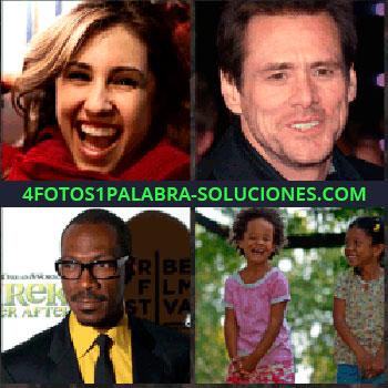 4 Fotos 1 Palabra - Señorita sonriendo. Jim Carrey. Eddie Murphy. Niñas riendo