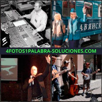 4 Fotos 1 Palabra - Técnico de sonido. azafatas o edecanes tren. Conferencista orador o speaker. Tocando música en la calle