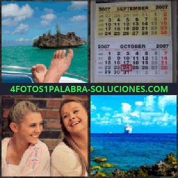 4 Fotos 1 Palabra - Pies e isla. calendario de pared. Dos jóvenes sonriendo. Barco crucero a lo lejos en el mar
