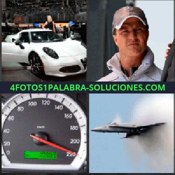 4 Fotos 1 Palabra - coche deportivo. Carro blanco. Señor gorra mercedes. Velocímetro a 220. Avión a reacción. Caza militar