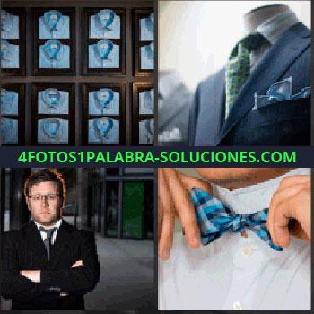4 Fotos 1 Palabra - camisas expuestas. Maniquí con traje. Joven de traje. Hombre con pajarita